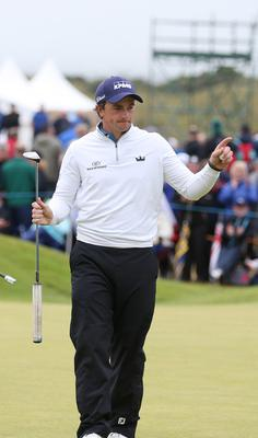 Press Eye - Belfast - Northern Ireland - 9th July 2017   Day four of the Dubai Duty Free Irish Open Hosted by the Rory Foundation at Portstewart Golf Club, Co.Derry / Co. Londonderry, Northern Ireland.  Paul Dunne on the 18th green  Picture by Matt Mackey / presseye.com