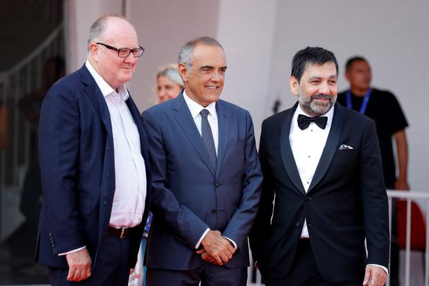 VENICE, ITALY - SEPTEMBER 07:  Producer Grant Hill, director of festival Alberto Barbera and producer Sophokles Tasioulis attend a premiere for 'Voyage Of Time: Life's Journey' during the 73rd Venice Film Festival at Sala Grande on September 7, 2016 in Venice, Italy.  (Photo by Andreas Rentz/Getty Images)