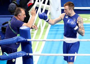 Sailing through: Ireland Head Coach Zaur Antia celebrates with Steven Donnelly after the Ballymena man's first-round victory in Rio