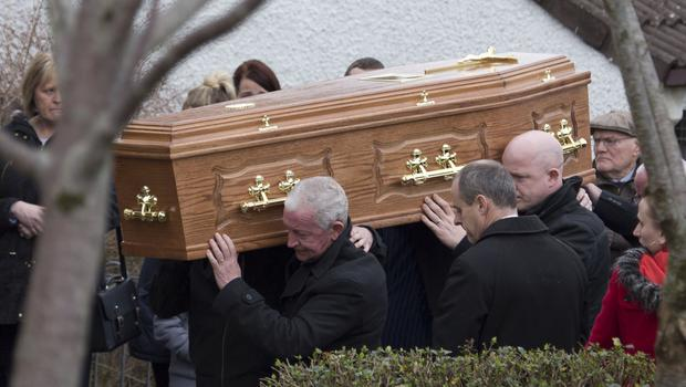 Remains of the five members of the same family who drowned at Buncrana pier are taken to the family home on Tuesday morning. Photo: Joe Boland / Press Eye