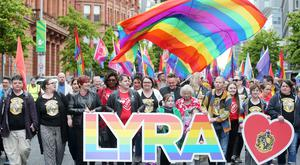 Same-sex marriage campaigners for Northern Ireland hold a march and rally in Belfast City Centre from Writers Square to the City Hall. The rally was addressed by the Sara Canning (centre) partner of Lyra McKee who was murdered after being shot dead by dissident republican in Derry. Picture by Jonathan Porter/PressEye