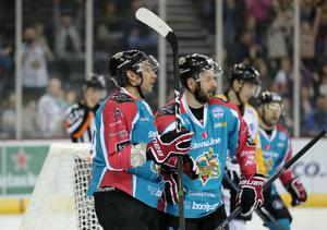 Belfast Giants' James Desmarais celebrates with Colin Shields during Fridays Elite Hockey League game at the SSE Arena, Belfast. 20  January 2017 - Picture by Darren Kidd / Press Eye.