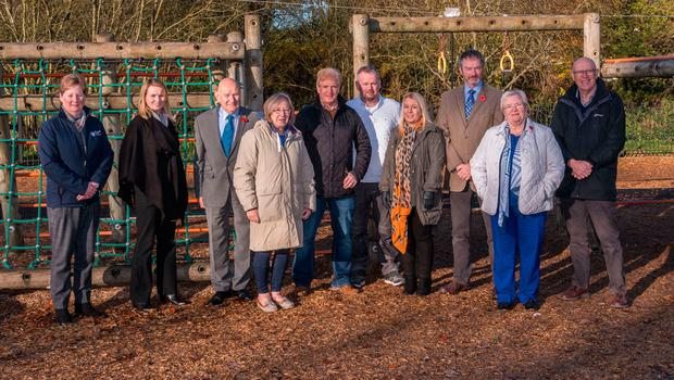 At the park are (from left) Jackie Patton and Katrina Morgan from Mid and East Antrim council; alderman Robin Cherry; councillor Muriel Burnside; Sandy Wilson of Broughshane and District Community Association; Michael Price of Broughshane Community Play Park Association; councillors Julie Frew, William McCaughey and Beth Adger; and Barney Graham