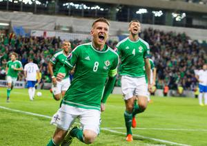 Northern Ireland's Steven Davis celebrates after scoring his side's third goal of the game during the UEFA European Championship Qualifying match at Windsor Park, Belfast. PRESS ASSOCIATION Photo. Picture date: Thursday October 8, 2015. See PA story SOCCER N Ireland. Photo credit should read: Liam McBurney/PA Wire.