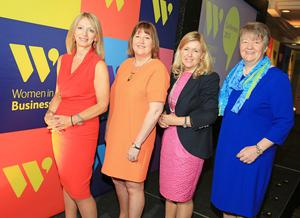 From left: Kate Marshall, chair of Women in Business; Roseann Kelly, chief executive of Women in Business; keynote speaker Rosaleen Blair, of Alexander Mann Solutions, and sponsor Ellvena Graham of Ulster Bank.