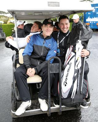 26 May 2015 -   Picture by Darren Kidd / Press Eye.   2015 Dubai Duty Free Irish Open:  Dubai Duty Free Irish Open Pro-Am Hosted by the Rory Foundation at Royal County Down Golf Club, Newcastle, Northern Ireland.   James Nesbitt and Paddy Wallace