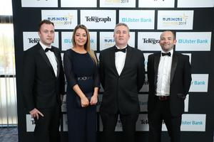 Press Eye - Belfast - Northern Ireland - 2nd May 2019 -   Brian Kilpatrick, Abigail O'Sullivan, Trevor Thompson and Chaz Fitzsommons pictured at the Belfast Telegraph Business Awards in association with Ulster Bank at the Crowne Plaza Hotel, Belfast. Photo by Kelvin Boyes / Press Eye.