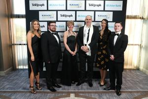 Press Eye - Belfast - Northern Ireland - 2nd May 2019 -   Louisa Cash, Neil Mooney, Sarah McAvoy, Christopher Souto, Meriem Naili and John Faloon pictured at the Belfast Telegraph Business Awards in association with Ulster Bank at the Crowne Plaza Hotel, Belfast. Photo by Kelvin Boyes / Press Eye.