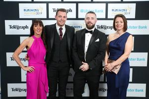 Press Eye - Belfast - Northern Ireland - 2nd May 2019 -   Karen McGarvey, Mark Fullerton, Connor Diamond and Sarah Little pictured at the Belfast Telegraph Business Awards in association with Ulster Bank at the Crowne Plaza Hotel, Belfast. Photo by Kelvin Boyes / Press Eye.