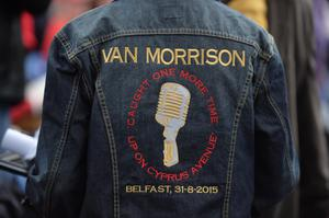 Pacemaker Press Belfast 30/08/2015: Van Morrison play's Belfast's Cyprus Avenue on 70th birthday. It is a quiet, leafy street in east Belfast that has inspired two songs on one of the greatest albums of all time. Van Morrison is returns to Cyprus Avenue to perform two concerts on his 70th birthday. Fans have travelled from across the world to attend the gigs that are the climax of the EastSide Arts Festival. Picture By: Colm Lenaghan.