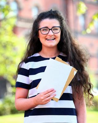 Picture - Kevin Scott / Belfast Telegraph  Belfast - Northern Ireland - Thursday 13th August 2015 - A Level Results Day   Pictured is Niamh Bunting, 3A's during A level results day at St Dominics  Picture - Kevin Scott / Belfast Telegraph