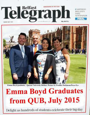 Mandatory Credit - Picture by Freddie Parkinson/Press Eye ? Tuesday 7th July 2015 Graduations Queen University Belfast. Emma Boyd from Larne graduates in Queen University Belfast.