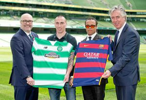Getting shirty: Charlie Stillitano (promoter), Celtic captain Scott Brown, former Barcelona midfielder Edgar Davids and FAI Chief Executive John Delaney at the International Champions Cup launch at the Aviva Stadium