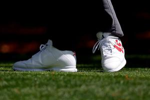 AUGUSTA, GEORGIA - APRIL 07:  A detail of the shoes of Keegan Bradley of the United States on the second tee during the first round of the 2016 Masters Tournament at Augusta National Golf Club on April 7, 2016 in Augusta, Georgia.  (Photo by Kevin C. Cox/Getty Images)