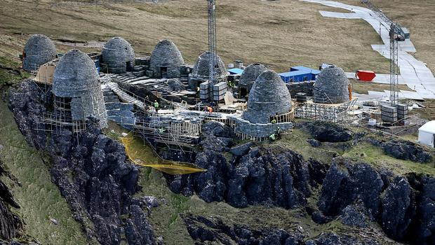 The almost completed film set of an ancient Jedi Temple under construction at Ceann Sibeal in Kerry for the making of Star Wars Episode VIII.