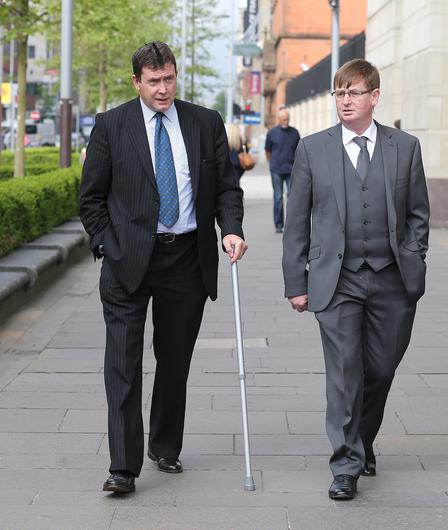 Willie Frazer and Colin Worton (left), whose brother was killed, attend the inquest of the Kingsmill massacre. Pacemaker Press 08/06/2016