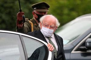 The President of Ireland Michael D. Higgins arrives at St Eugene's Cathedral in Londonderry for the funeral of John Hume. PA Photo. Picture date: Wednesday August 5, 2020. Hume was a key architect of Northern Ireland's Good Friday Agreement and was awarded the Nobel Peace Prize for the pivotal role he played in ending the region's sectarian conflict. He died on Monday aged 83, having endured a long battle with dementia. See PA story FUNERAL Hume. Photo credit should read: Niall Carson/PA Wire