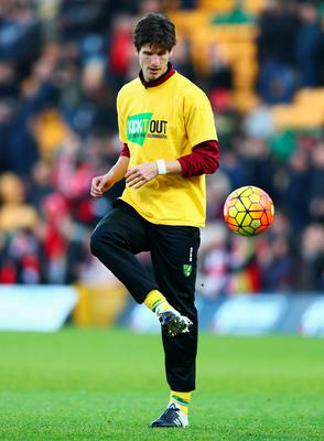 NORWICH, ENGLAND - JANUARY 23:  Timm Klose of Norwich City warms up prior to the Barclays Premier League match between Norwich City and Liverpool at Carrow Road on January 23, 2016 in Norwich, England.  (Photo by Clive Mason/Getty Images)