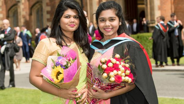 Gayathri Gunasekaran graduated with a degree in medicine from Queens University Belfast. Her sister Yogini travelled from Malaysia to attend the graduation ceremony.