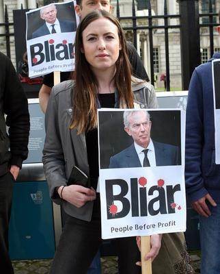 Mandatory Credit - Freddie Parkinson /Press Eye © Friday 8th July People Before Profit Protest against Tony Blair outside Belfast City Hall @ 5pm. Fiona Ferguson People Before Profit.