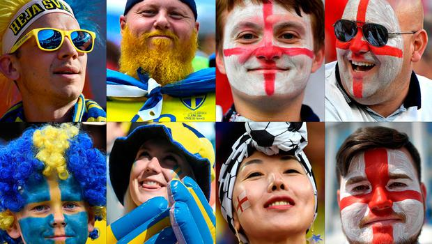 TOPSHOT - (COMBO) This combination of photos created on July 6, 2018 shows Sweden and England fans supporting their team during the Russia 2018 World Cup football tournament.   Sweden will face England during their World Cup quater-final football match in Samara on July 7, 2018.  / AFP PHOTO / --/AFP/Getty Images
