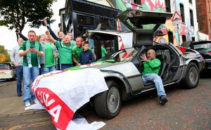Picture - Kevin Scott / Presseye  Thursday 8th October 2015 - Belfast Northern Ireland - Northern Ireland vs Greece FANS  Pictured is Northern Ireland fans at Ryans Bar in Belfast ahead of the Euro Qualifier at Windsor Park.   Picture - Kevin Scott / Presseye