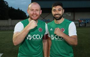 Willowbank goal-scorers Eamon Hughes and Nathan Garland-ONeill celebrate their side's Junior Cup semi-final victory.