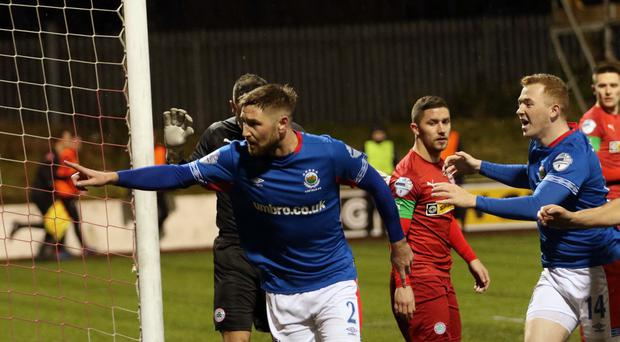 Linfield's Mark Stafford scores during this evening's game at Solitude in Belfast. Colm Lenaghan/Pacemaker Press