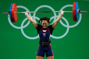 RIO DE JANEIRO, BRAZIL - AUGUST 08:  Sukanya Srisurat of Thailand competes during the Women's 58kg Group A weightlifting contest on Day 3 of the Rio 2016 Olympic Games at the Riocentro - Pavilion 2 on August 8, 2016 in Rio de Janeiro, Bra  (Photo by Lars Baron/Getty Images)
