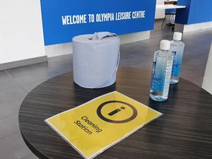 Preparations have been made at Olympia Leisure Centre in south Belfast as Northern Ireland becomes the first part of the UK where gyms may reopen following lockdown on Friday. (Rebecca Black/PA)