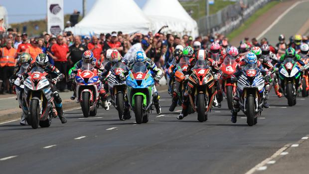PACEMAKER BELFAST  19/05/2018 North West 200 2018 Alastair Seeley (34) , Dean Harrison (8) and Michael Dunlop (3) during todays CP Hire Superstock race in the Vauxhall International North West 200. Photo Stephen Davison/Pacemaker Press