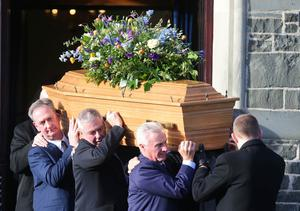 Press Eye - Belfast - Northern Ireland - 14th January 2018  Funeral for former Belfast Lord Mayor Dr Ian Adamson at Conlig Presbyterian Church in Co. Down.  The 74-year-old who died last week was a Ulster Unionist Party politician, medical doctor and historian, Dr Adamson served as Lord Mayor of Belfast in 1996/7, high sheriff in 2011 and was an Assembly member for the constituency of East Belfast from 1998 to 2003.  Dr Ian Adamson coffin leaves the church after the funeral service.  Picture by Jonathan Porter/PressEye