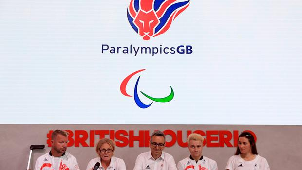 Paralympics GB's (left-right) Lee Pearson, Chef de Mission Penny Briscoe, CEO of ParalympicsGB Tim Hollingsworth, Ollie Hynd and Dame Sarah Storey during the ParalympicsGB Flagbearer announcement ahead of the 2016 Rio Paralympic Games, Brazil. PRESS ASSOCIATION Photo. Picture date: Tuesday September 6, 2016. Photo credit should read: Adam Davy/PA Wire. EDITORIAL USE ONLY