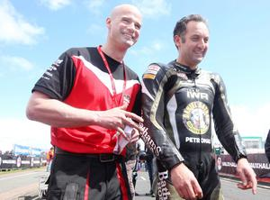 Northern Ireland- 14th May 2013 Mandatory Credit - Photo-Jonathan Porter/Presseye.  The Vauxhall International North West 200 - First practice day.   Ryan Fraquhar(left) and Michael Rutter on the grid.