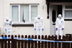 Forensics at the scene of a shooting in Derry. Lorcan Doherty Presseye