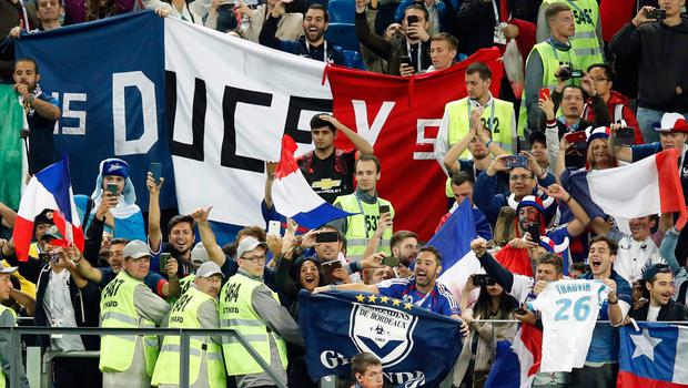 France's fans celebrate their team's victory at the end of the Russia 2018 World Cup semi-final football match between France and Belgium at the Saint Petersburg Stadium in Saint Petersburg on July 10, 2018. / AFP PHOTO / Odd ANDERSEN / RESTRICTED TO EDITORIAL USE - NO MOBILE PUSH ALERTS/DOWNLOADS ODD ANDERSEN/AFP/Getty Images