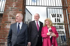Election candidates Deputy First Minister Martin McGuinness, Raymond McCartney and Maeve McLaughlin after casting their vote at the Model Primary School in Derry on Thursday morning for the NI Local Assembly Elections. Picture Margaret McLaughlin © please by-line 5-5-16