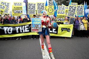 Anti-Brexit campaigners take part in the People's Vote March in London. PRESS ASSOCIATION Photo. Picture date: Saturday March 23, 2019. See PA story POLITICS Brexit March. Photo credit should read: Yui Mok/PA Wire