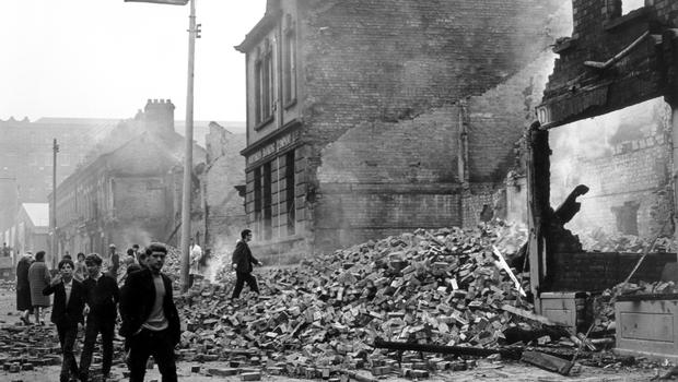 RIOTS. BELFAST. AUGUST 1969. After fierce rioting, the rubble filled Divis Street, reminiscent of the blitz. 15/8/1969