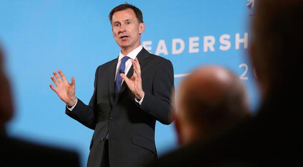 Conservative party leadership contender Jeremy Hunt during a Tory leadership hustings in Belfast. Photo credit: Peter Morrison/PA Wire