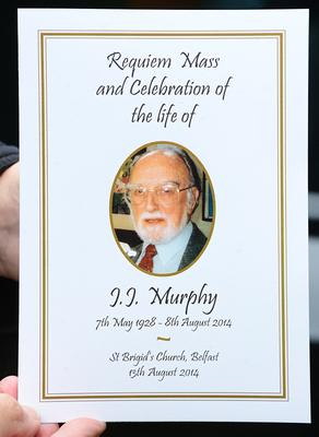 Pacemaker Press Belfast 13-08-2014: The funeral has been held of veteran actor JJ Murphy, who died shortly after filming his first scenes for Game of Thrones. Mr Murphy, 86, died suddenly on Friday at his home in Belfast. He had recently joined the cast for series five of the HBO series, which is largely filmed in Northern Ireland. The service took place at St Brigid's Church in Belfast. Picture By: Arthur Allison.