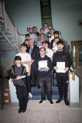 St. Joseph's Boys School, Derry A-Level students pictured with Principal, Mr. Damian Harkin yesterday morning after receiving their A Level results.