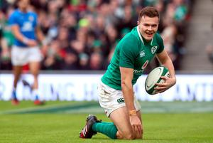 Ireland's Jacob Stockdale after scoring his side's seventh try during the NatWest 6 Nations match at the Aviva Stadium, Dublin. PRESS ASSOCIATION Photo. Picture date: Saturday February 10, 2018. See PA story RUGBYU Ireland. Photo credit should read: Brian Lawless/PA Wire. RESTRICTIONS APPLY: Editorial use only. No commercial or promotional use without prior consent from IRFU. No alterations or doctoring.