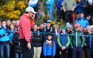 Pacemaker Press Belfast 28-05-2015; Dubai Duty Free Irish Open 2015 : Dubai Duty Free Irish Open Day One Hosted by the Rory Foundation at Royal County Down Golf Club, Newcastle, Northern Ireland. Rory McIlroy pictured on the 11th. Picture By: Arthur Allison.