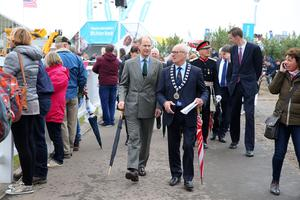 Prince Edward, Earl of Wessex is pictured at Balmoral Show with Cyril Millar, RUAS President. Photo by Kelvin Boyes / Press Eye.