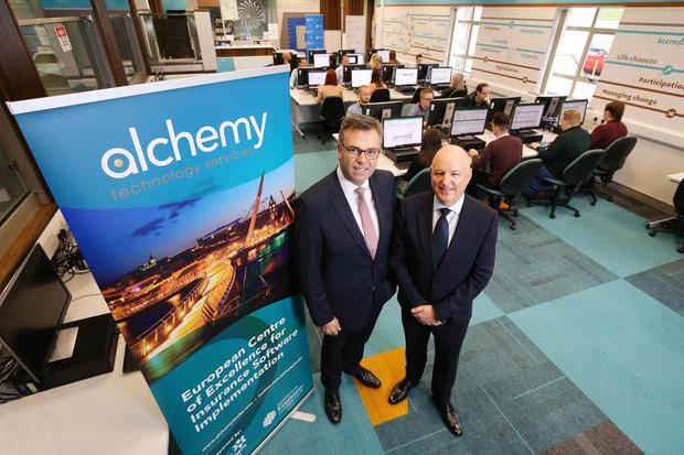 Alastair Hamilton, chief executive of Invest Northern Ireland with John Harkin, Director and Founder, Alchemy. Photo by Kelvin Boyes / Press Eye.