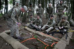 Soldiers are given orders during the Solway Eagle exercise (Andrew Milligan/PA)