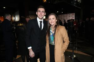 Press Eye - Belfast - Northern Ireland - 31st January 2019 -   Guests arrive on the red carpet as Tourism NI marked the start of the official build up to The 148th Open at Royal Portrush with a celebration of Northern Irish talent from sport, music, arts and screen at Titanic Belfast this evening. Pictured are Aidan and Michaela Walsh.   Visit https://youtu.be/KPPKRrsR-js to watch the cinematic film ÔWeÕve come a long wayÕ which was premiered on the night.    Photo by Kelvin Boyes / Press Eye.