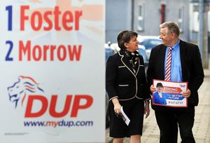 ©/Presseye.com - 5th May 2016.  Press Eye Ltd - Northern Ireland   Picture by Presseye.com  DUP Leader, Arlene Foster, with councillor Paul Robinson arriving at Brookeborough Controlled Primary School to cast her vote in today's  Assembly Election.