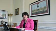 First Minister Arlene Foster pictured working in her office at Parliament Buildings, Stormont. Photo by Kelvin Boyes / Press Eye.